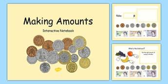 Maths Intervention Interactive Notebook for Making Amounts - SEN, special needs, maths, money, counting money, recognising money, adding money, coins, notes