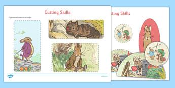 Beatrix Potter - The Tale of Benjamin Bunny Cutting Skills Worksheet - beatrix potter, benjamin bunny