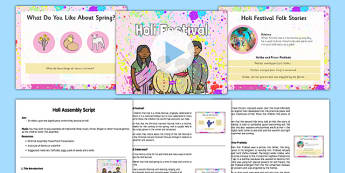 Holi Assembly Pack - Holi, Hindu, ks2, holi festival, key stage 2, hinduism, religious, event