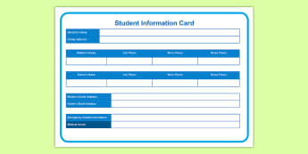Editable Student Information Cards - USA Back to School, USA Starting School, student information cards, student emergency forms, Back to
