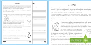 Zoo Day Point of View Activity Sheet - Zoo Day, Point of View, compare and Contrast, Similarities and Differences, Reading Comprehension