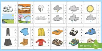 Marcheză litera corespunzătoare primului sunet: Anotimpuri și îmbrăcăminte Activitate - sunet și litera, sunete și litere, litere, litere de tipar, activități, jocuri, fonetică, Roman