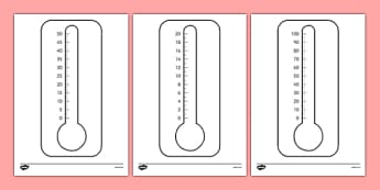 Blank Thermometers Multiples of 2, 5 and 10 - blank, thermometers, multiples, 2, 5, 10