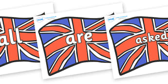 Tricky Words on Union Jacks - Tricky words, DfES Letters and Sounds, Letters and sounds, display, words