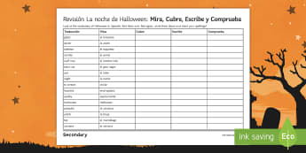 Halloween: Look Cover Write and Check Activity Sheet Spanish - writing, spellings, 31st, October, Festivities, Celebrations, Vocabulary worksheet