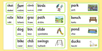 Park Word Cards Polish Translation - polish, park, word cards, word, cards, places, outside
