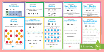 LKS2 Division Strategies Display Posters - sharing, short division, array, number line, examples of strategies, repeated addition, repeated sub
