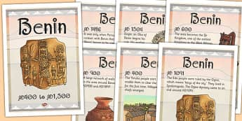 Benin Timeline Posters - timeline, posters, benin, ks2, africa