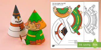 Simple 3D Cone Elf Bobble Head Christmas Activity Paper Craft English/Italian - EAL, elf, christmas, craft, crafting, design, making, art, creative, activity, festive, toy