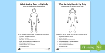 How Anxiety Affects My Body Activity Sheet - anxiety body map, colour, draw, worksheet