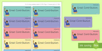 Maths 'Great Contribution' Stickers - Marking, Feedback, Stickers, Rewards, Learning, Attitude, Time-Saving, Positive, Praise, questioning
