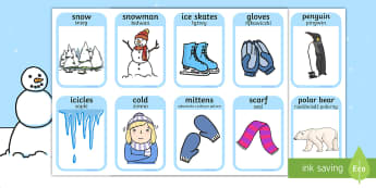Winter Words and Pictures Flashcards English/Polish - Winter Words and Pictures Flashcards - winter, visual aids, cards, wnter, winterwords, wintre, flash
