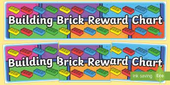 Building Brick Reward Chart Display Banner - display banner