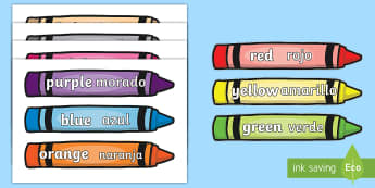 Colours on crayons Topic Words on Topic Images English/Spanish - Colour Words on Crayons, crayon, colour display, colour posters, colour, display, poster, posters, c