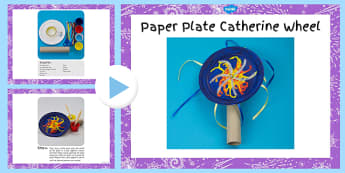 Paper Plate Catherine Wheel Craft Instructions PowerPoint - paper plate, catherine wheel