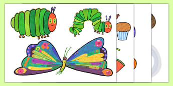 Story Cut Outs to Support Teaching on The Very Hungry Caterpillar - The Very Hungry Caterpillar,  Eric Carle, resources, Hungry Caterpillar, life cycle of a butterfly, days of the week, food, fruit, story, story book, story book resources, story sequ
