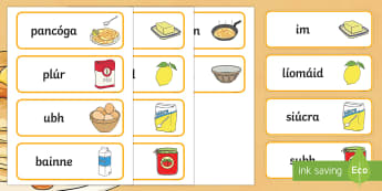 Pancake Tuesday Word Cards Gaeilge - pancake day, pancake tuesday, shrove tuesday, pancake, gaeilge, word cards, word, cards