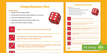 Reading Comprehension Dice Game - Literacy, reading, dice, New Zealand, comprehension, inference, guided reading, understanding,