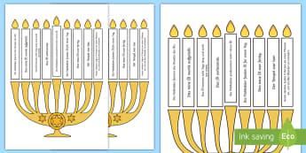 Light the Candle Hanukkah Puzzle English/German - Chanukka, Judaism, Jews, EAL, German, English-German,,German-translation