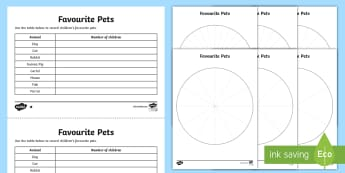 KS2 Pie Chart Differentiated Activity Sheets - interpret and construct pie charts and line graphs and use these to solve problems, Year 6, Y6, Key
