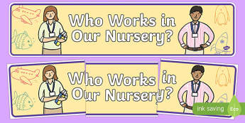 Who Works In Our Nursery Display Banner - who works in our nursery, teachers banner, staff banner, who works here, display, school display, display banner