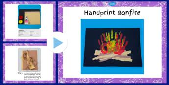 Handprint Bonfire Craft Instructions PowerPoint - handprint, bonfire, craft, instructions