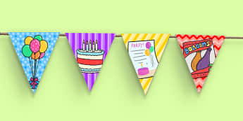 10th Birthday Party Picture Bunting - 10th birthday party, 10th birthday, birthday party, picture bunting