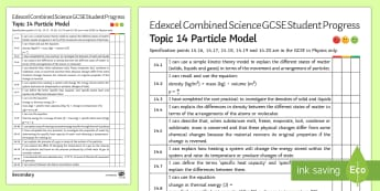 Edexcel Style Particle Model KS4 Progress Sheet - density, particle model, specific heat capacity, Kelvin, Celcius