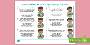 'We Love Playdough Play' Song Playdough Exercises Adult Guidance - Playdough Play, dough disco, finger gym, fine motor skills, physical development