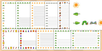 Page Borders to Support Teaching on The Very Hungry Caterpillar - The Very Hungry Caterpillar,  Eric Carle, resources, Hungry Caterpillar, life cycle of a butterfly, days of the week, food, fruit, story, story book, story book resources, story sequen