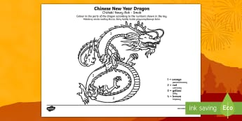 Chinese Dragon Number Colouring Sheet English/Polish  - Chinese Dragon Number Colouring by Numbers Sheet - colouring, sheets, fine motor skills, colour by n