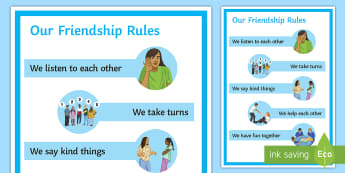 Our Friendship Rules A4 Display Poster - Requests SEN, friends, social