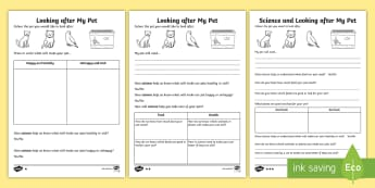 Caring For Pets Science Differentiated Activity Sheets - ACSHE022, worksheets, Use and influence of science, Science as a Human Endeavour, looking after anim