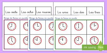 Bingo: La hora - En punto - bingo, juego, la hora, el tiempo, en punto, reloj, relojes, relójes, analógico, analógicos, decir