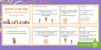 KS1 Sparks in the Sky Addition and Subtraction Differentiated Maths Challenge Cards - fireworks, Year 1, Year 2, Bonfire night, calculation, problem solving, guy fawkes, adding, subtract