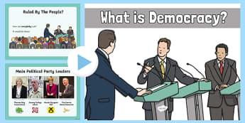 Democracy in the UK - what, democracy, presentation, powerpoint, ks2
