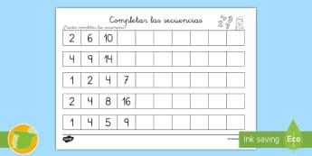 Ficha de actividad: Completar las secuencias - Números - secuencias, números, cifras, digitos, completar, completa, secuenciar, secuencia, mates, matemátic