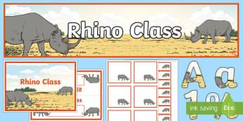 Rhino Class Resource Pack - Rhino Class Resource Pack - rhino, pack, class banner, display banner, table name, rhino display, di