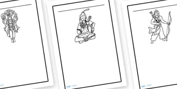 Hindu Writing Frames - writing frame, frame, writing, hindu, hindu writing frames, writing aid, writing template, template, literacy