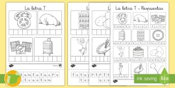 Ficha de recortar y pegar: La letra T - juego lectoescritura, juego lecto, juego didáctico, lecto, sonidos, lecto-escritura, fonemas, sonid