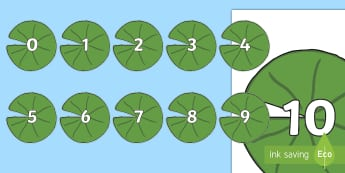 Numbers 0 to 10 on Lily Pads Display Cut-Outs - Maths display resources, IWB resources and worksheets for infants, Irish