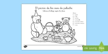 Colorear con números: El picnic de los osos de peluche - colorear con números, osos de peluche, oso de peluche, oso, peluche, jueguete, picnic, osito, color