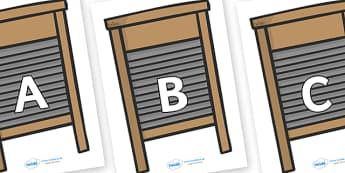 A-Z Alphabet on Washing Boards - A-Z, A4, display, Alphabet frieze, Display letters, Letter posters, A-Z letters, Alphabet flashcards