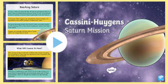 Cassini-Huygens Saturn Mission Information PowerPoint -  topical space, saturn, titan, probe, space, saturns rings, enceladus