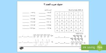3 جدول ضرب العدد - الضرب، ضرب الأعداد، جدول الضرب، الأعداد، حساب، عربي، أ