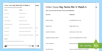 Urban Issues Mix and Match 4 Activity Sheet - Urban Issues and Challenges AQA GCSE