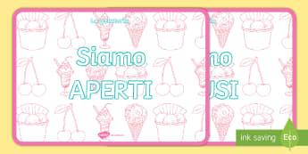 La gelateria aperto chiuiso Poster - segnale, cartello, gelateria, gioco, di, ruolo, materiale, scolastico, apero, chiuso, italiano, ital