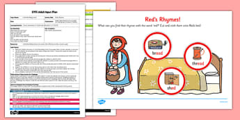 Red's Rhymes EYFS Adult Input Plan and Resource Pack - reds, rhymes, eyfs, adult, input, plan, red, reds rhymes