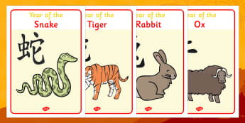 Chinese Year Of The Zodiac Animal Display Posters - Display Posters, Chinese new year, A4, display, posters, China, lantern, dragon, chopsticks, noodles, year of the rabbit, ox, snake, fortune cookie, pig