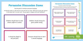 Persuasive Discussion Game - CfE WritingPersuasive writingPersuasive languageLIT 2-29a ENG 2-27a ,Scottish